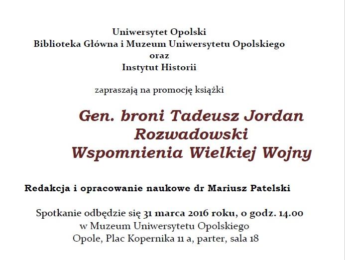 """sprzedaż na stopach o tanie jak barszcz Promocja książki """"Gen. broni Tadeusz Jordan Rozwadowski ..."""